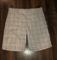 Nike Golf Dri Fit Lightweight Comfortable Gray Plaid Shorts Men's size 36