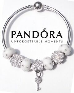 New PANDORA .925 Sterling Silver Bangle Bracelet White  6.7, 7.5, 8.3