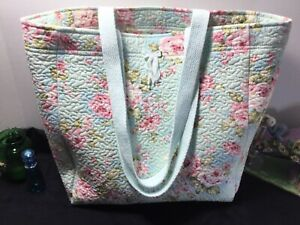GORGEOUS! Scatter pink rose on aqua-blue Quilted cotton market bag **PLEASE READ