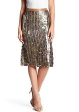 NEW!  $378  Tracy Reese Sequined Flared Skirt Tarnished Gold [SZ: 4]  #F14