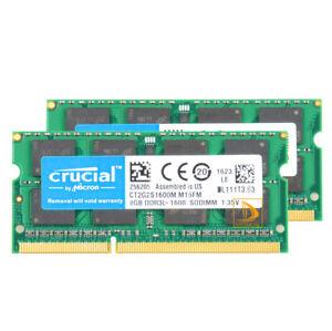 16GB 2x8G Crucial 8GB 2RX8 DDR3L 1600MHz PC3L-12800S SODIMM Laptop Memory RAM #6