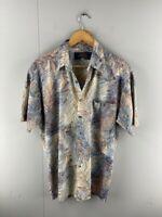 Callen Mens Blue Brown Vintage Short Sleeve Button Down Shirt Size Medium