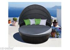 Day Bed Set Wicker Sun Lounge Setting Round Black Rattan New