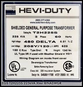 EGS T2H225S Hevi-Duty Shielded Transformer ~ 225kVA ~ 480V-208/120Y