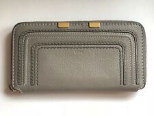 Chloe Chloé Marcie Long Zip Around Tassel Pull Wallet Cashmere Gray $550