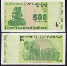 Zimbabwe $500 Dollars 2009 Pick 98 Mint Unc