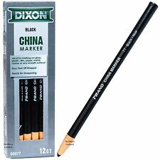 Dixon Phano China Marker Black 77 00077, Peel Off Grease Pencil, Box of 12