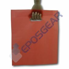 More details for 100 large red punch out handle gift fashion party market plastic carrier bags