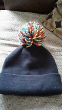 Ladies ASOS Hat in Black with Pom Pom in Yellow, Orange, Purple, Green, One Size