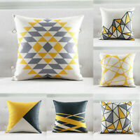 "18"" Cotton Linen Simple Sofa Waist Cushion Cover Home Decor Geometry Pillow Case"