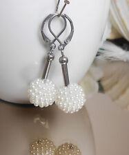 Kugel Perle Ohrhänger creme weiß Resin 13 mm mit Edelstahl Brisur