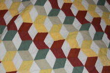 POTTERY BARN QUEEN 100%COTTON ZIG ZAG QUILT 93X97 inch India -Gray ticking back
