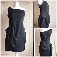 ASOS One Shoulder Black Party Dress Side Peplum Bodycon Mini Dress Size Uk 14