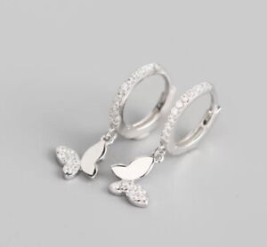 Klapp Creolen Schmetterling Silber 925 Sterlingsilber Kinder Kreolen Ohrringe