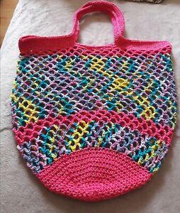 Häkelnetz/Einkaufsnetz Handarbeit NEU mehrfarbig Unikat aus Baumwolle