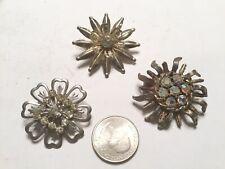 Item Metal Crystals 1 1/2� Diam. Vintage Collection 3 Pins Brooch Estate