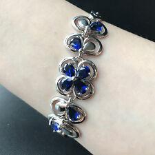 Butterfly Flower Bracelet Blue Sapphire Gemstone White Gold Filled Gift