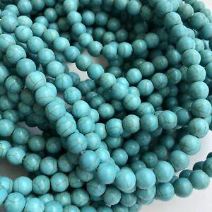 "50X Antique Turquoise Blue Gemstone Beads 8mm Round Howlite 36cm Strand 13"""