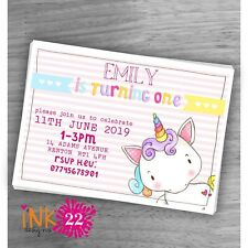 Cute Personalised Girls Unicorn Invitations Pack 1st 2nd 3rd 4th Birthday X 10B