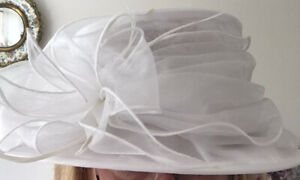 John Lewis White Hat Satin Soft Wedding Races Etc