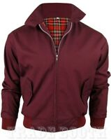 Mens Red Classic Harrington Jacket Vintage Retro Bomber Mod Coat Up To 5XL