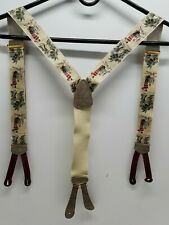 Vtg Trafalgar Embroidered Silk Suspenders Braces St Andrews Golf Golfing Golfer