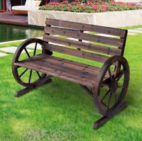 Wagon Wheel Chair Bench Armrest Rustic Patio Garden Outdoor Wood Old Fashioned