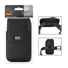 Reiko Vertical Samsung S3/S4/S5/S6/S7 Full Leather Pouch Black Clip Wallet Case