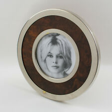 Vintage Gucci Style Silver Plate and Wood Round Picture Photo Frame