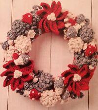 C2 - Red & White CHRISTMAS WREATH / CROCHET PATTERN