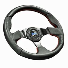 Madjax Burnout Steering Wheel with Red Stitched Accents for Golf Cart (N)