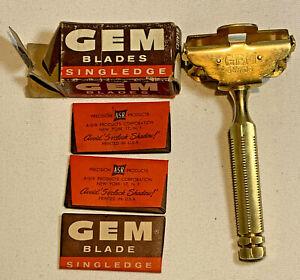 1930's GEM Junior 1912 Patent Single Edge Safety Razor Brass w/ 3 Blades