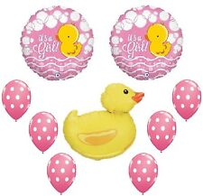 DUCK Rubber PINK Polka Dots It's a GIRL 9 BABY Shower Mylar & Latex Balloons Set