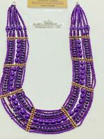 Egyptian Style Purple Small Beaded Multi-Strand Fashion Necklace Clasp Missing