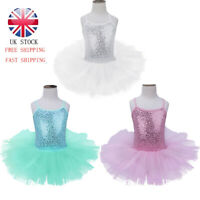 UK Girls Sequined Ballet Leotard Dress Mesh Tutu Skirt Gymnastics Party Costume