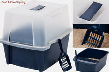 New listing Clean Pet Cat Kitty Closed Top Regular Litter Box with Shield & Scoop - Navy