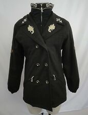 Bogner Ski Coat Sz 6 Dark Brown Wool Black Horn Buttons Zip & Button Front