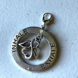Silver Inhale Exhale Guardian Angel Circle Clip Love Heart Charm Pendant Zipper