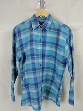 Wrangler Blues Woman's button down long sleeve plaid shirt, Western star buttons
