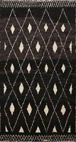 Diamond Modern Moroccan Oriental Area Rug Hand-knotted Black/ Ivory Carpet 6x10