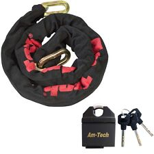 """47"""" Sleeved Chain Square Linked 65MM Insulated Padlock 4 Keys Motorbike Security"""