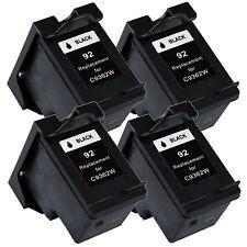 4 Pk Black Ink for 92 Photosmart C3135 C3140 C3150 C3180 C4180 7850