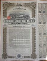 1909 Bond Certificate: 'Northern Light, Power & Coal Company' - Canada - $100