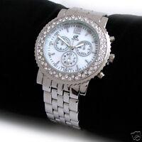 Silver Geneva Crystal Bezel Women's Bracelet Watch