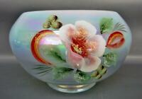 Fenton MAGNOLIA BLUSH Hand-Painted on a French Opalescent Glass Rose Bowl 6226