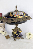 HUGE french Limoges marked Porcelain bronze centerpiece coupe table victorian