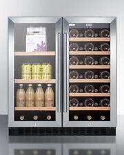"Summit SWBV3071 30"" Wine Beverage Center French Door Dual Zone Stainless Steel"
