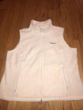 COLUMBIA Ivory Beige Winter White Fleece Warm Womens Vest Jacket Coat Sz 2X #