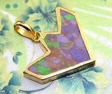 D3635 Super Offer Arrowhead Purple & Green Turquoise Gold Plated Pendant Jewelry