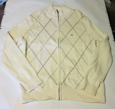 Used Men's Tommy Hilfiger Argyle Sweater Jacket L Ivory Bone  Full Zip Cotton